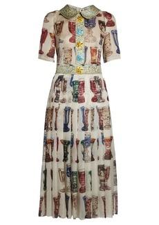Dolce & Gabbana Glasses-print embellished organza midi dress