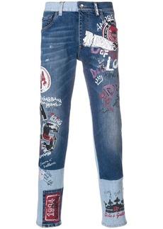 Dolce & Gabbana graffiti effect jeans - Blue