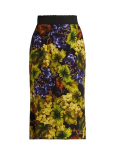 Dolce & Gabbana Grape-print cady midi skirt