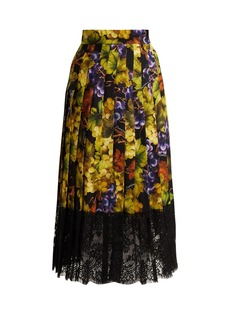 Dolce & Gabbana Grape-print silk-blend skirt