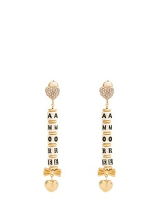 Dolce & Gabbana Heart and crystal-embellished clip-on earrings