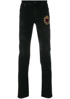 Dolce & Gabbana heart appliqué jeans - Black