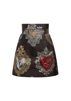 Dolce & Gabbana Heart-jacquard high-waist mini skirt
