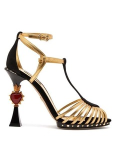 Dolce & Gabbana Heart-plaque leather and suede sandals