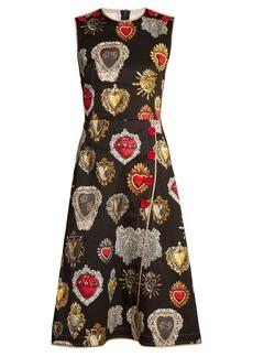 Dolce & Gabbana Heart-print round-neck wrap-style dress