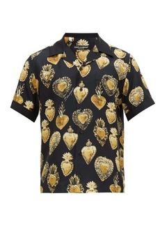 Dolce & Gabbana Heart-print silk-satin twill shirt
