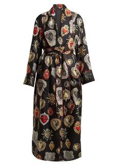Dolce & Gabbana Heart-print tie-waist silk robe