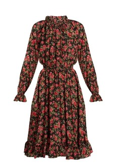 Dolce & Gabbana High-neck floral-print silk dress