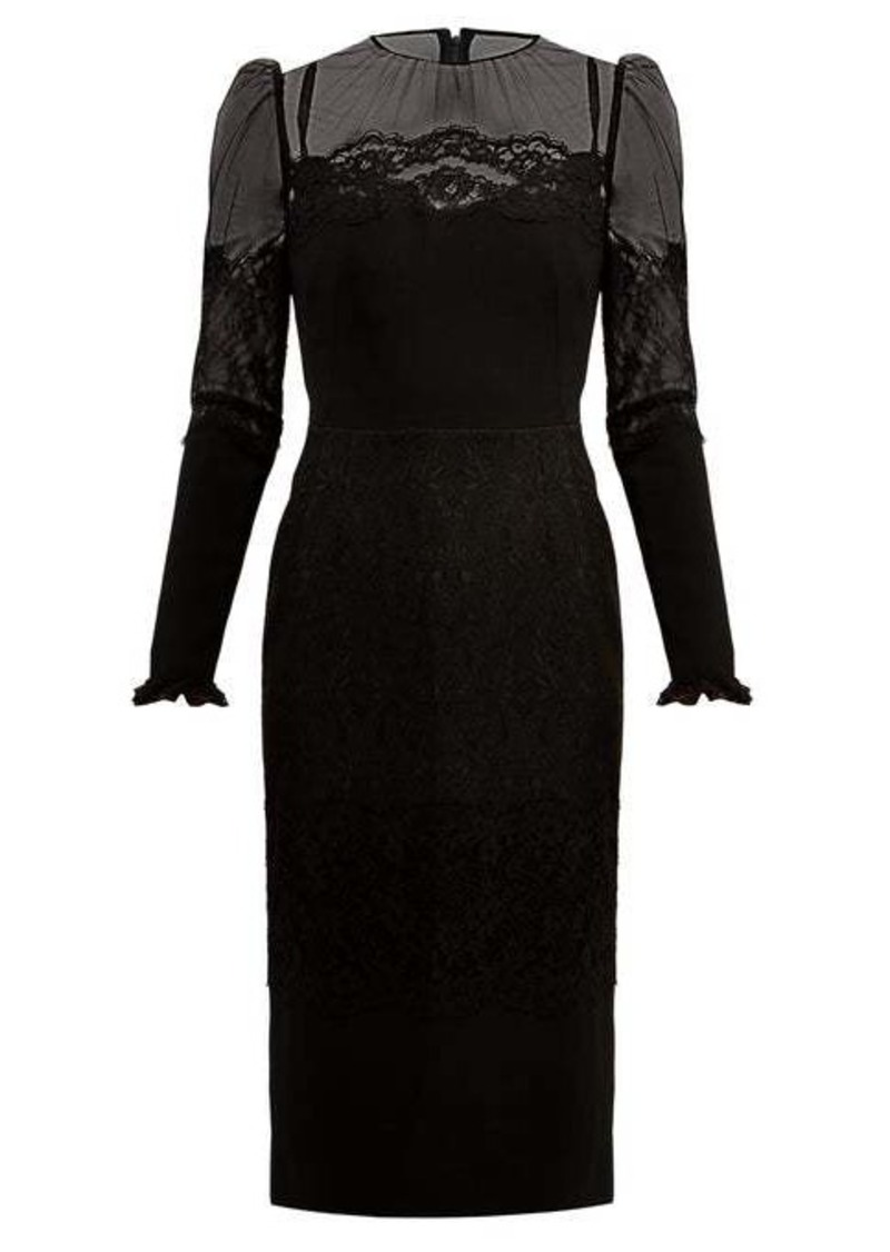 Dolce & Gabbana High-neck lace and tulle dress