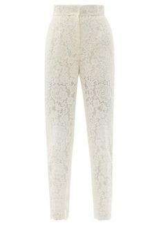 Dolce & Gabbana High-rise cotton-blend cordonetto-lace trousers