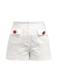 Dolce & Gabbana High-rise cotton-blend floral jacquard shorts