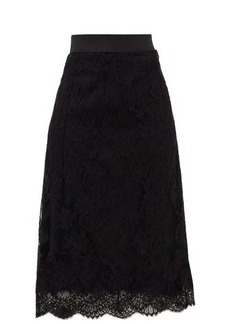 Dolce & Gabbana High-rise cotton-blend lace midi skirt