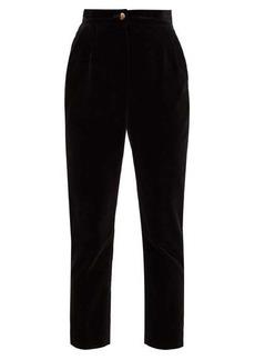 Dolce & Gabbana High-rise cotton-velvet trousers