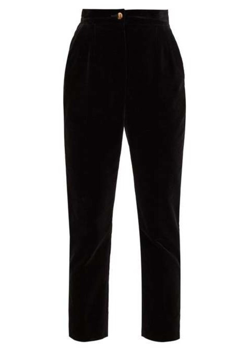Dolce & Gabbana High-rise cotton-velvet trousers