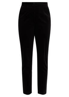 Dolce & Gabbana High-rise cropped velvet trousers