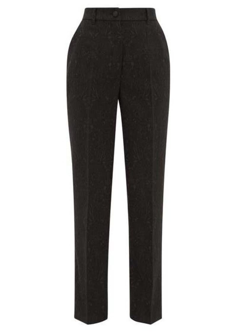 Dolce & Gabbana High-rise floral-jacquard tailored trousers