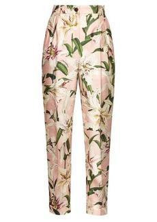 Dolce & Gabbana High-rise floral-print shantung trousers