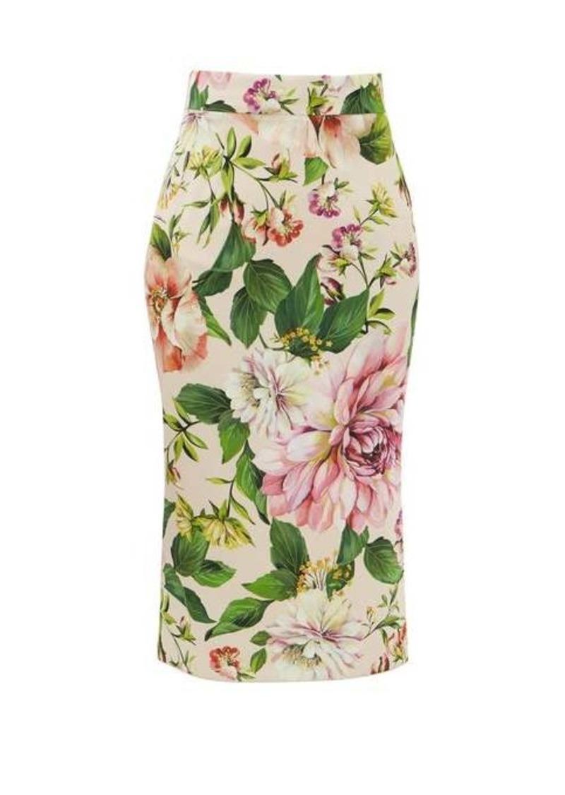 Dolce & Gabbana High-rise floral-print silk-blend skirt