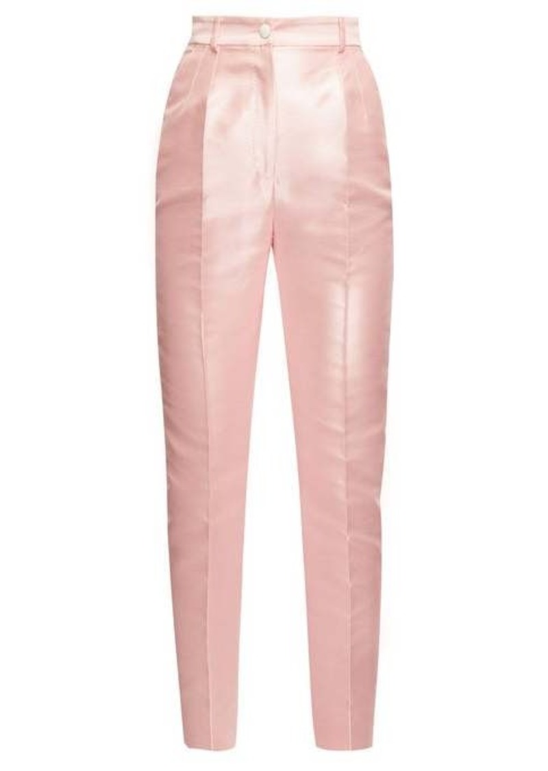 Dolce & Gabbana High-rise mikado slim-leg trousers