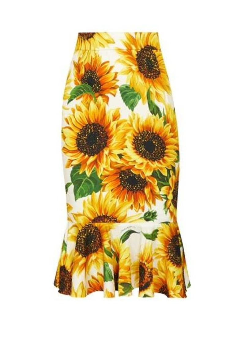Dolce & Gabbana High-rise sunflower-print silk-blend skirt