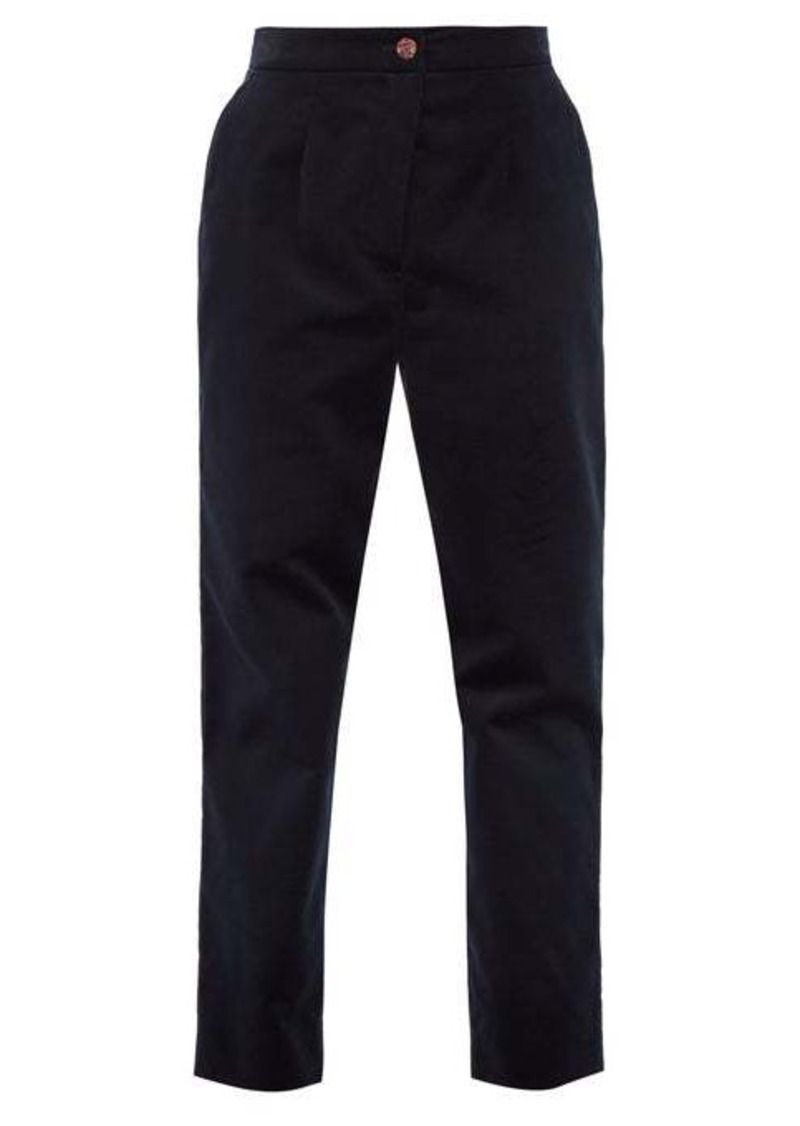 Dolce & Gabbana High-rise velvet trousers