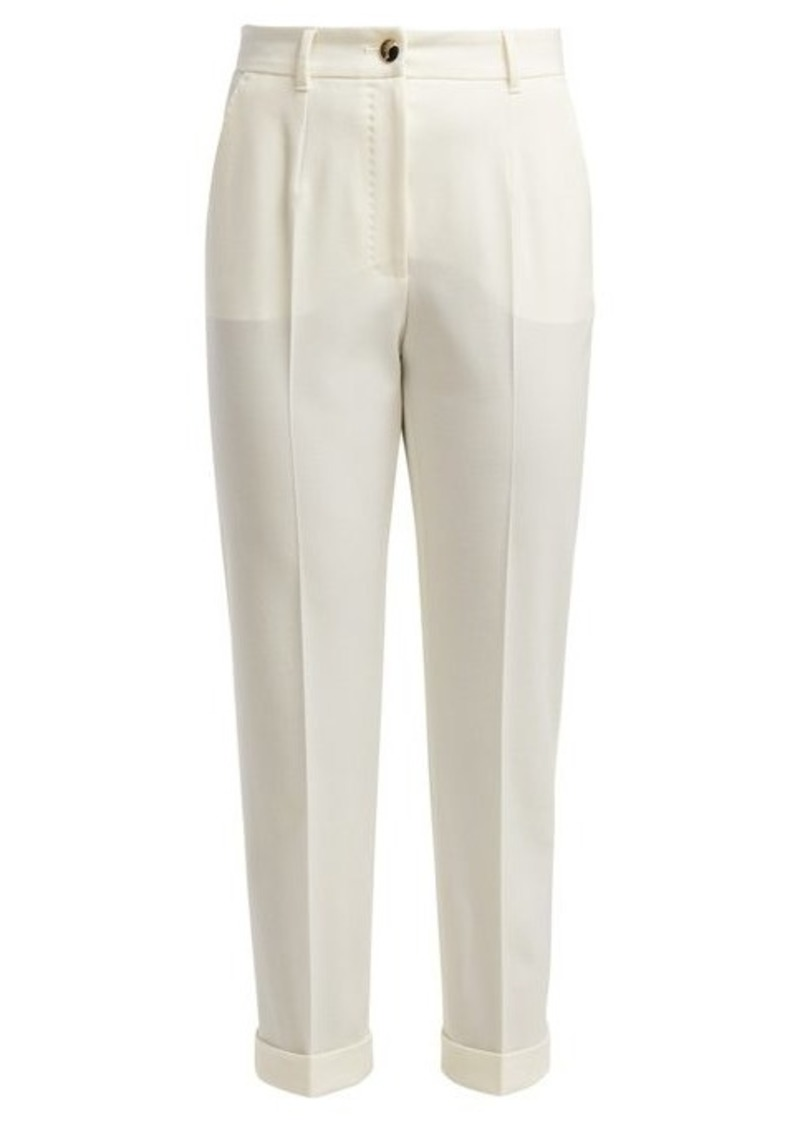 Dolce & Gabbana High-rise wool-blend cropped trousers