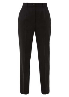Dolce & Gabbana High-rise wool-blend twill tapered trousers