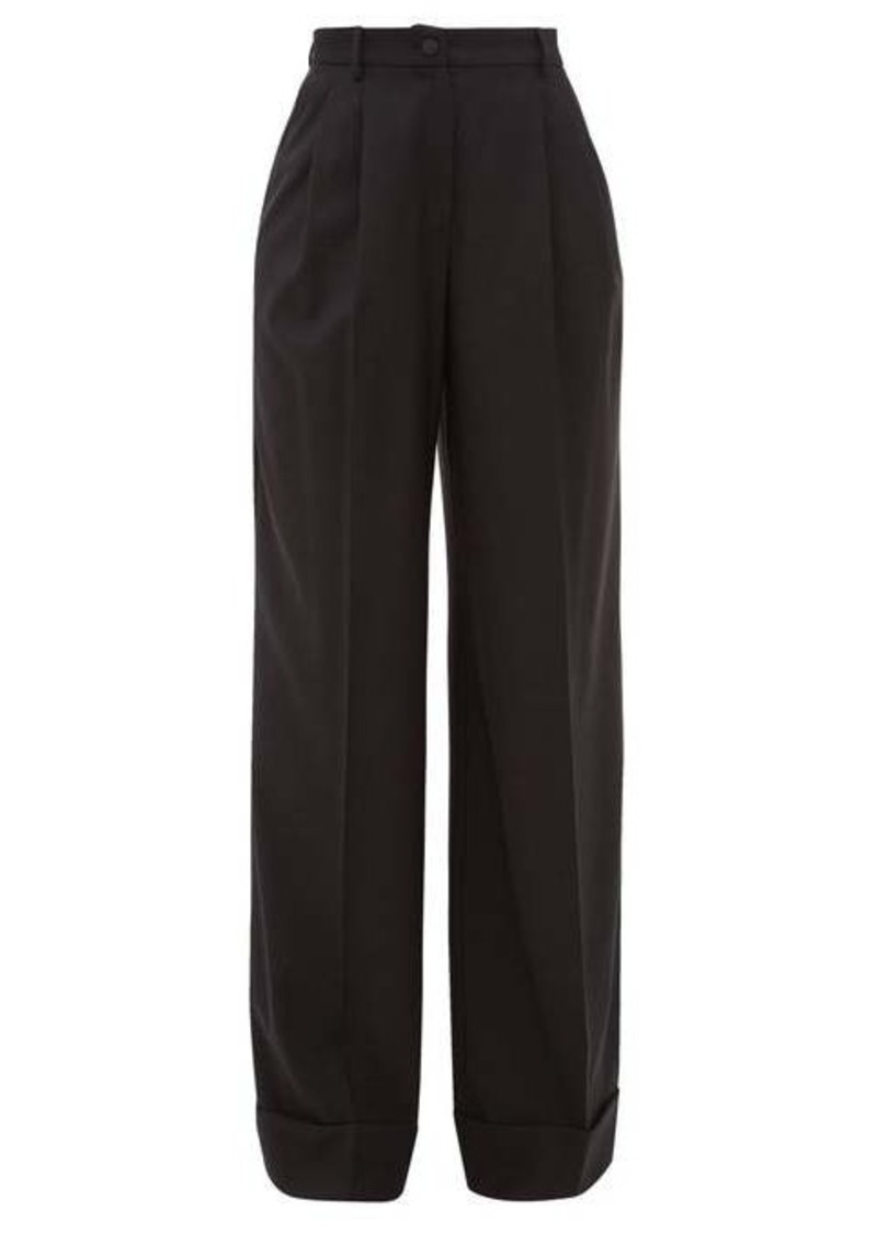 Dolce & Gabbana High-rise wool-blend wide-leg trousers