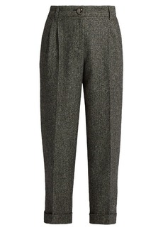 Dolce & Gabbana High-waisted herringbone-tweed cropped trousers
