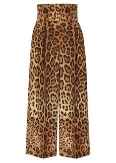 Dolce & Gabbana High-waisted leopard-print wool-blend culottes