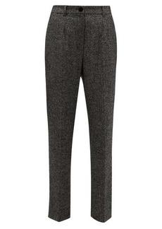 Dolce & Gabbana High-waisted virgin wool-blend tweed trousers