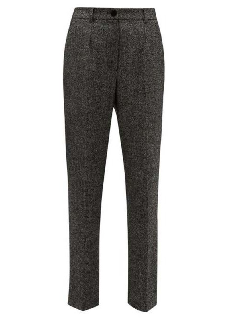 Dolce & Gabbana High-waisted virgin wool-blend tweed trousers