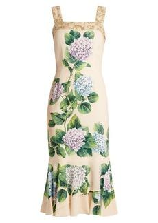 Dolce & Gabbana Hydrangea-print ruffled-hem charmeuse dress