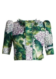 Dolce & Gabbana Hydrangea-print silk-satin cropped jacket