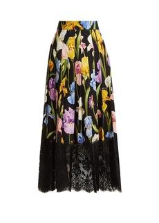 Dolce & Gabbana Iris-print silk-blend charmeuse skirt