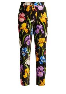 Dolce & Gabbana Iris-print stretch-cotton velvet trousers