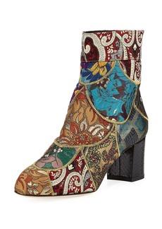 Dolce & Gabbana Jacquard Block-Heel Bootie