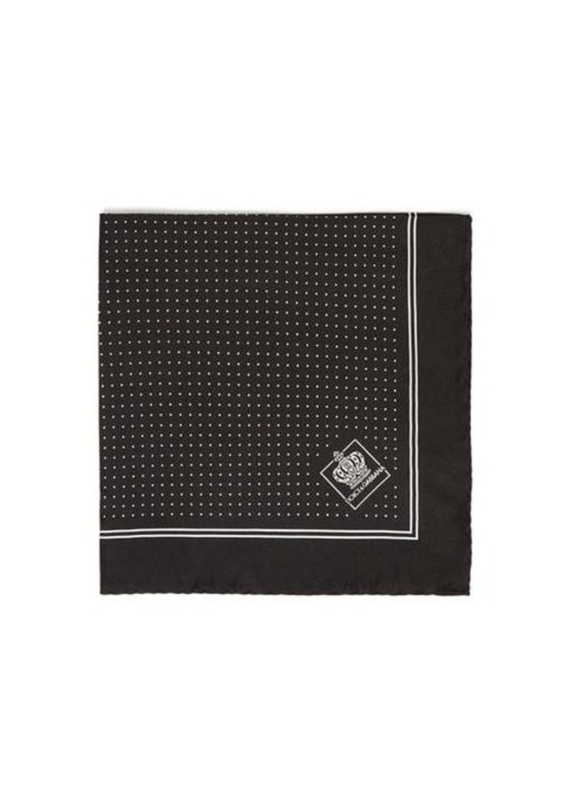 Dolce & Gabbana Jacquard pin-dot silk-twill pocket square
