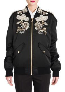Dolce & Gabbana Jewel-Embellished Satin Bomber Jacket