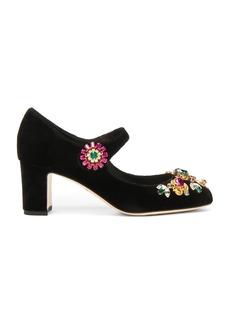 Dolce & Gabbana Jewel Embellished Velvet Maryjane Heels