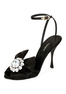 Dolce & Gabbana Jeweled Satin Ankle-Wrap Sandals