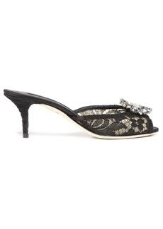 Dolce & Gabbana Keira crystal-embellished lace mules