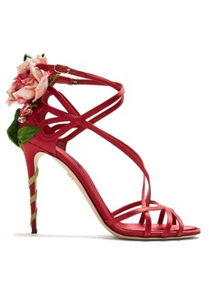 Dolce & Gabbana Keira rose-applique satin stiletto sandals