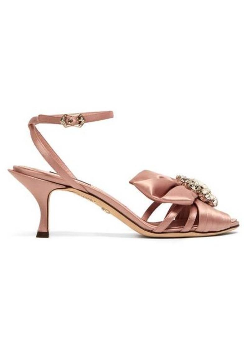 Dolce & Gabbana Kiera crystal-brooch satin sandals