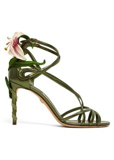 Dolce & Gabbana Kiera lily-appliqué metallic-leather sandals