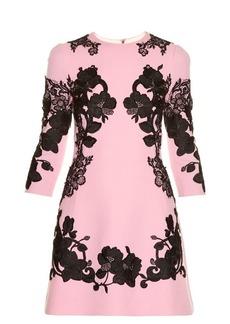 Dolce & Gabbana Lace-appliqué crepe mini dress