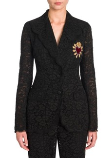 Dolce & Gabbana Lace Heart Applique Jacket