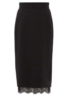 Dolce & Gabbana Lace-hem crepe pencil skirt