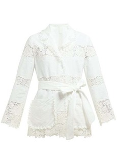 Dolce & Gabbana Lace panelled pyjama cotton-blend blouse