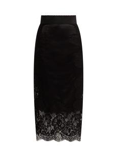 Dolce & Gabbana Lace-panelled satin pencil skirt